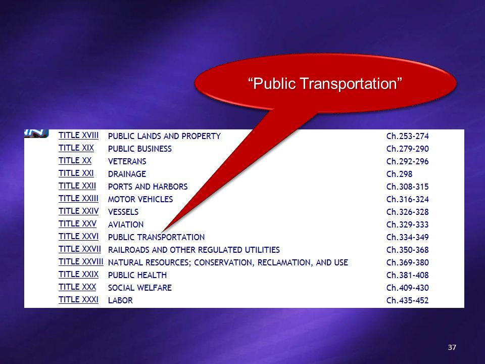 37 Public Transportation