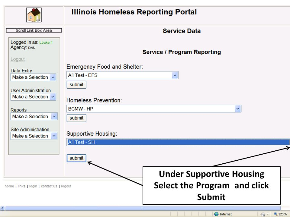 Under Supportive Housing Select the Program and click Submit