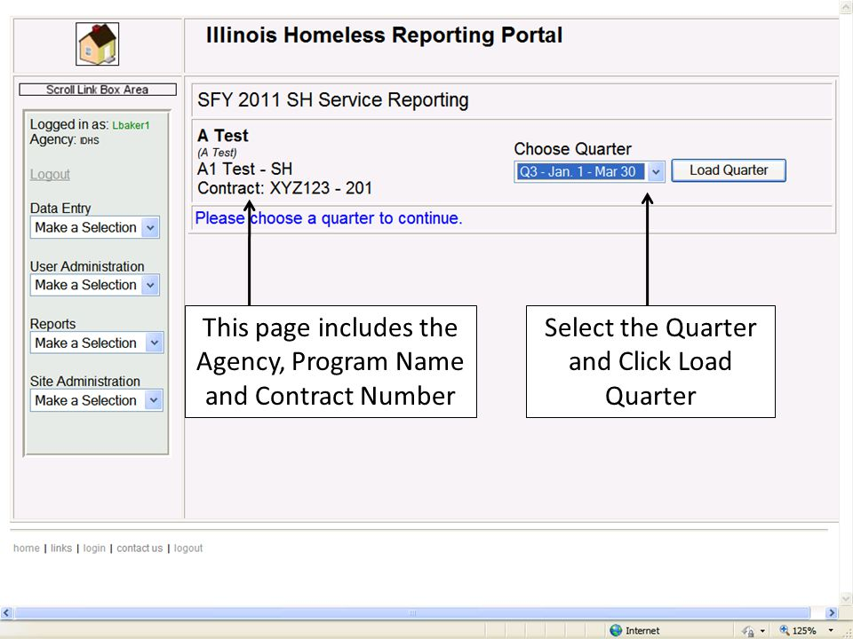 This page includes the Agency, Program Name and Contract Number Select the Quarter and Click Load Quarter