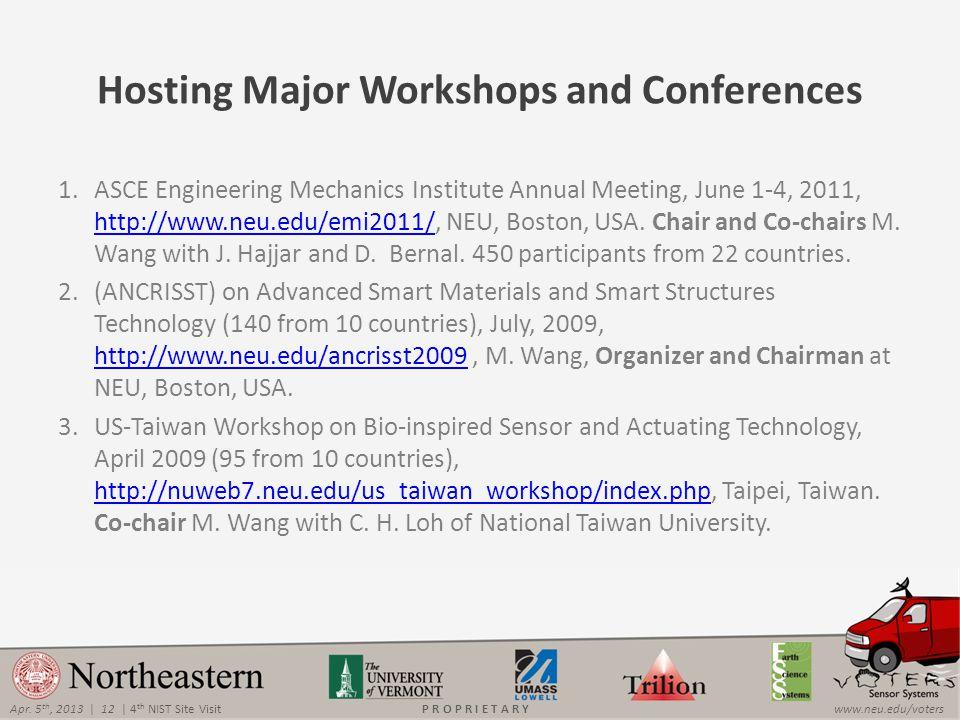 Apr. 5 th, 2013 | 12 | 4 th NIST Site Visitwww.neu.edu/votersP R O P R I E T A R Y Hosting Major Workshops and Conferences 1.ASCE Engineering Mechanic