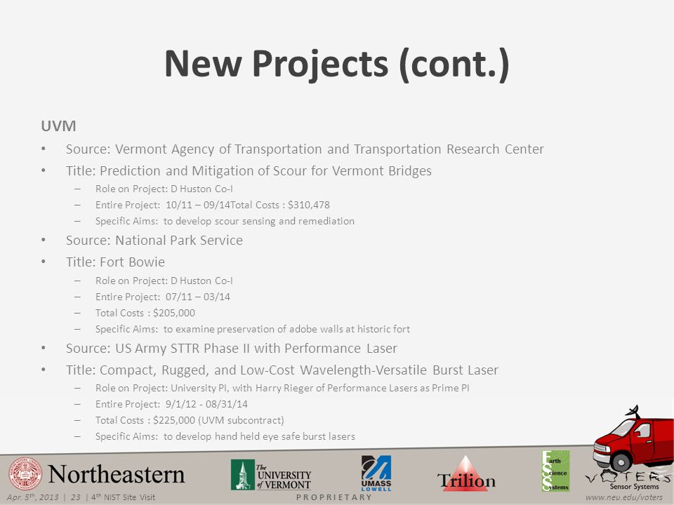Apr. 5 th, 2013 | 23 | 4 th NIST Site Visitwww.neu.edu/votersP R O P R I E T A R Y New Projects (cont.) UVM Source: Vermont Agency of Transportation a