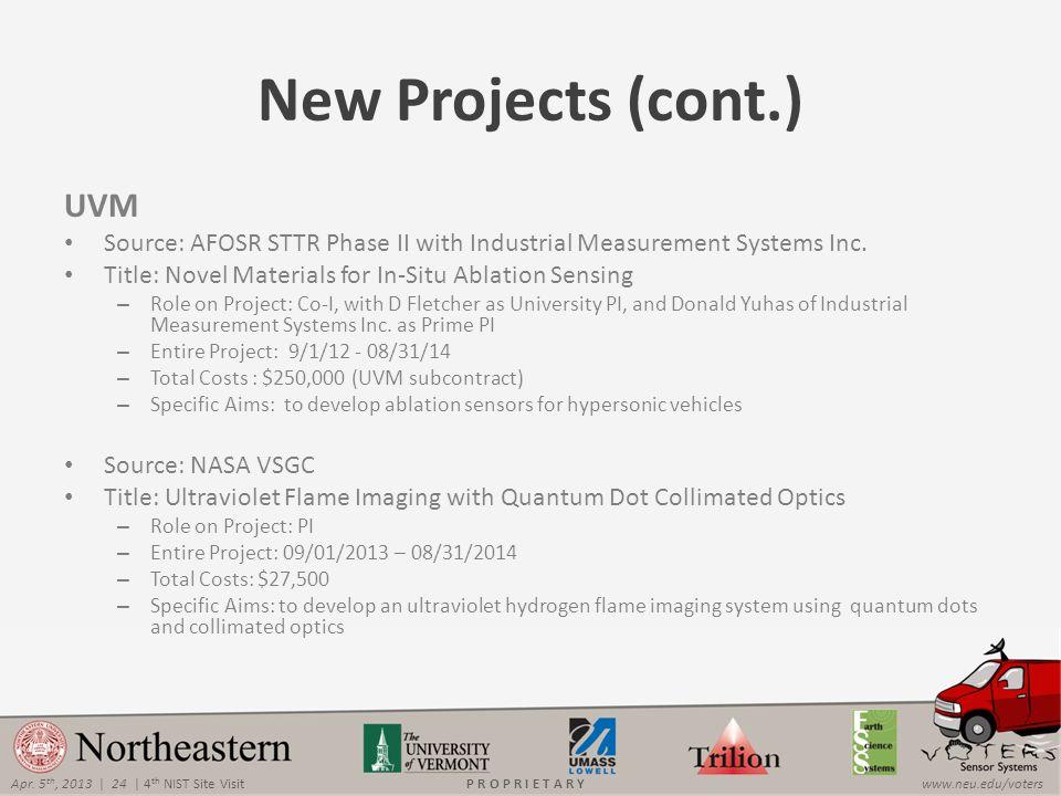 Apr. 5 th, 2013 | 24 | 4 th NIST Site Visitwww.neu.edu/votersP R O P R I E T A R Y New Projects (cont.) UVM Source: AFOSR STTR Phase II with Industria