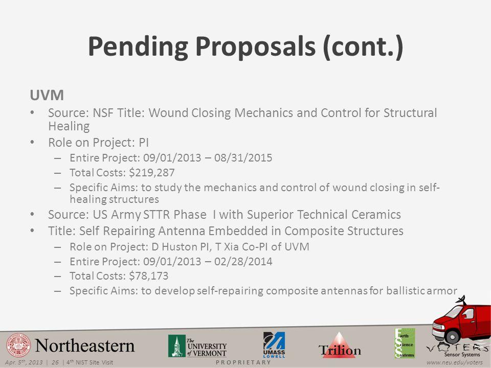 Apr. 5 th, 2013 | 26 | 4 th NIST Site Visitwww.neu.edu/votersP R O P R I E T A R Y Pending Proposals (cont.) UVM Source: NSF Title: Wound Closing Mech