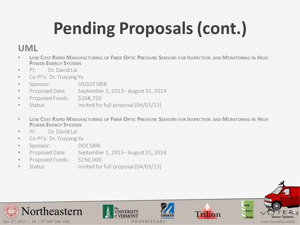 Apr. 5 th, 2013 | 29 | 4 th NIST Site Visitwww.neu.edu/votersP R O P R I E T A R Y Pending Proposals (cont.) UML L OW C OST R APID M ANUFACTURING OF F