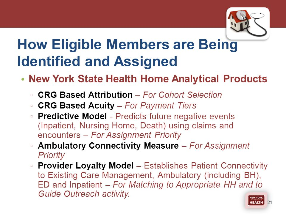 How Eligible Members are Being Identified and Assigned New York State Health Home Analytical Products ▫ CRG Based Attribution – For Cohort Selection ▫ CRG Based Acuity – For Payment Tiers ▫ Predictive Model - Predicts future negative events (Inpatient, Nursing Home, Death) using claims and encounters – For Assignment Priority ▫ Ambulatory Connectivity Measure – For Assignment Priority ▫ Provider Loyalty Model – Establishes Patient Connectivity to Existing Care Management, Ambulatory (including BH), ED and Inpatient – For Matching to Appropriate HH and to Guide Outreach activity.