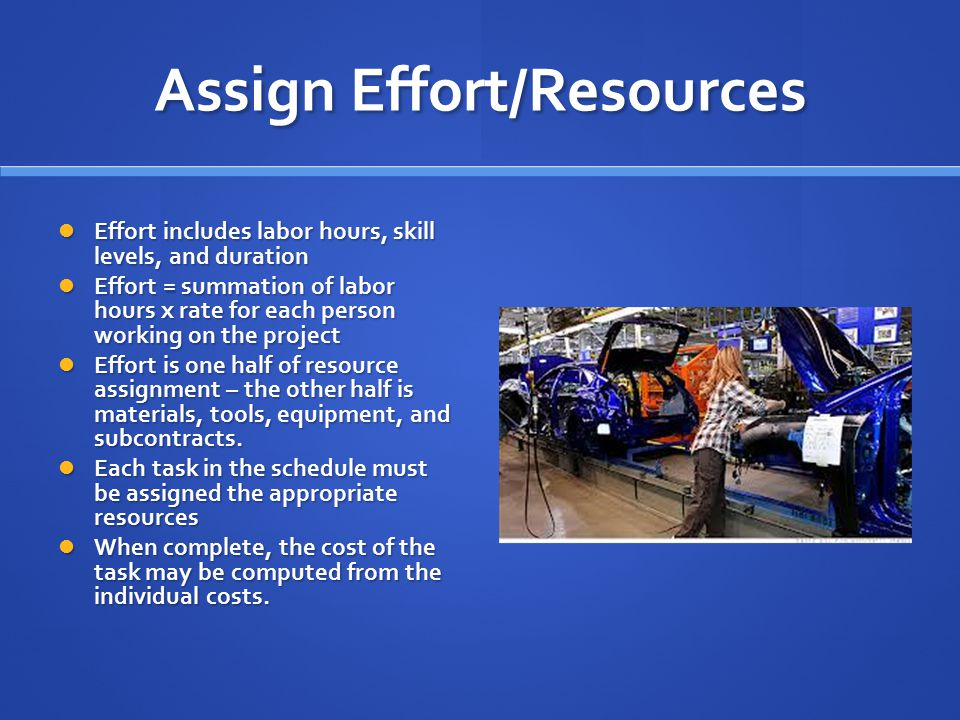 Assign Effort/Resources Effort includes labor hours, skill levels, and duration Effort includes labor hours, skill levels, and duration Effort = summation of labor hours x rate for each person working on the project Effort = summation of labor hours x rate for each person working on the project Effort is one half of resource assignment – the other half is materials, tools, equipment, and subcontracts.