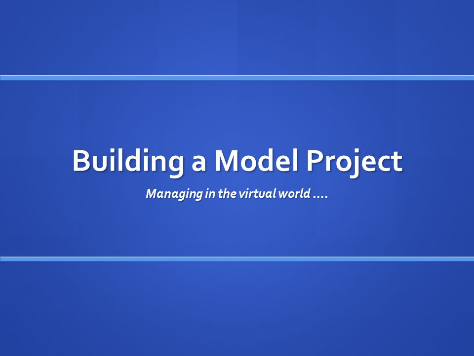 Building a Model Project Managing in the virtual world ….