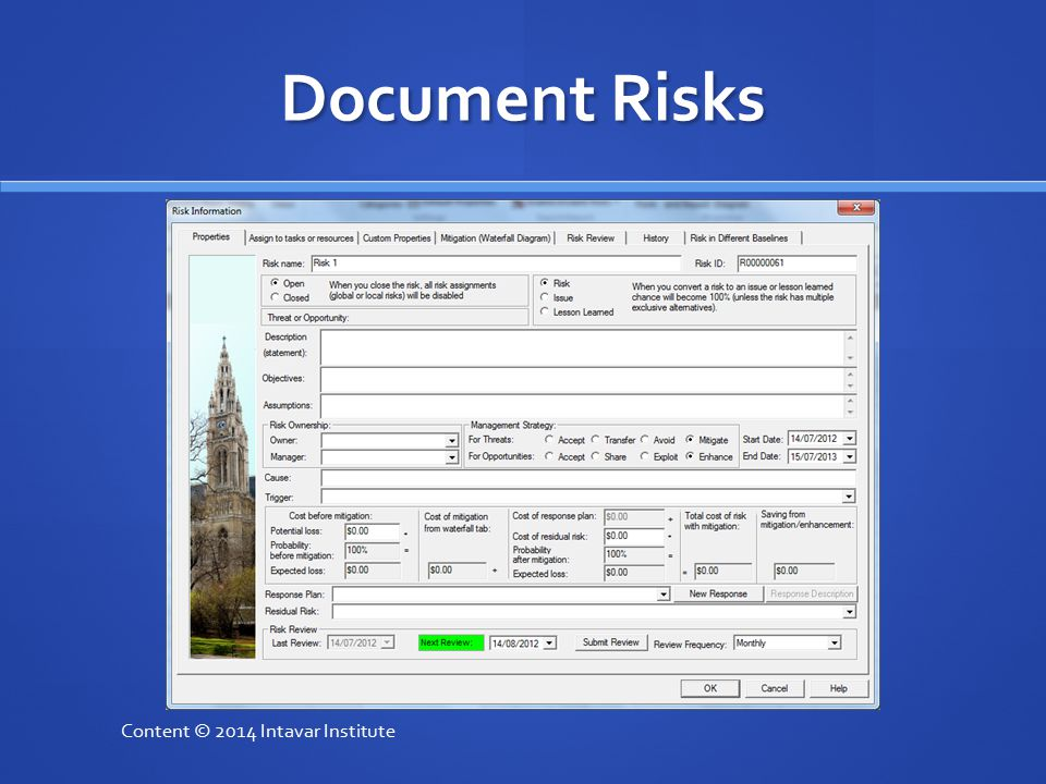 Document Risks Content © 2014 Intavar Institute