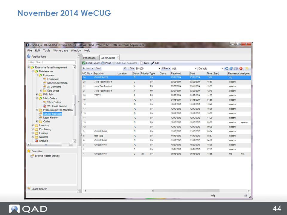 44 November 2014 WeCUG
