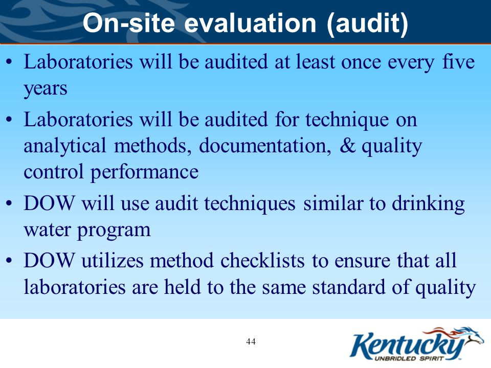 On-site evaluation (audit) Laboratories will be audited at least once every five years Laboratories will be audited for technique on analytical methods, documentation, & quality control performance DOW will use audit techniques similar to drinking water program DOW utilizes method checklists to ensure that all laboratories are held to the same standard of quality 44
