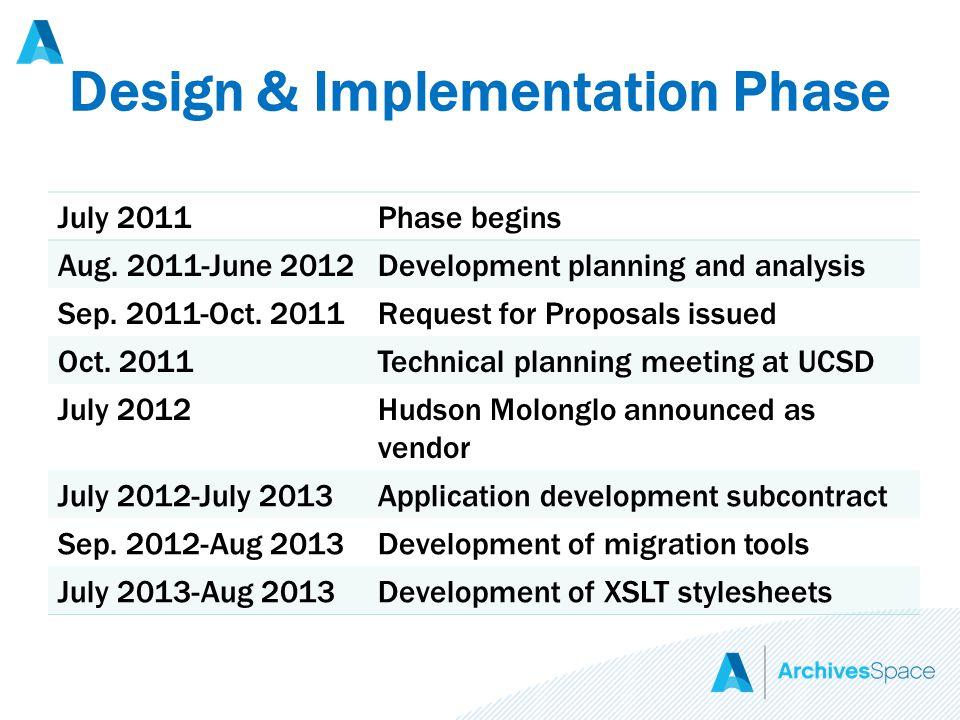 Design & Implementation Phase July 2011Phase begins Aug.