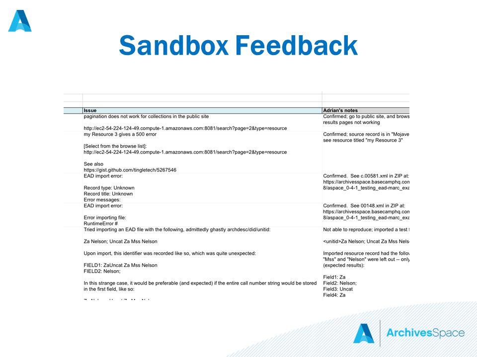 Sandbox Feedback