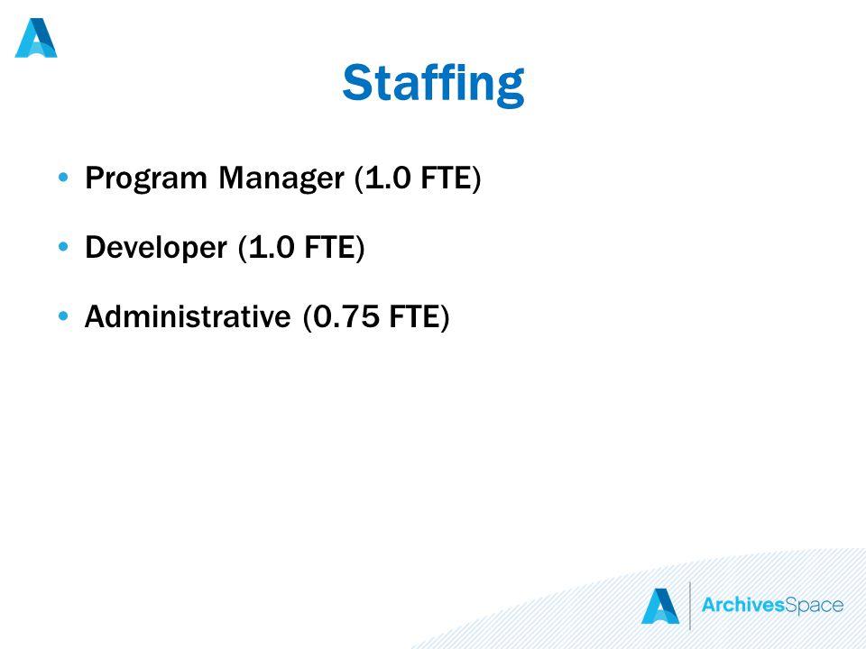Staffing Program Manager (1.0 FTE) Developer (1.0 FTE) Administrative (0.75 FTE)