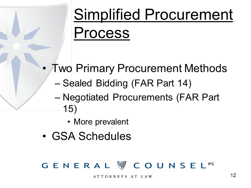 Simplified Procurement Process Two Primary Procurement Methods –Sealed Bidding (FAR Part 14) –Negotiated Procurements (FAR Part 15) More prevalent GSA Schedules 12