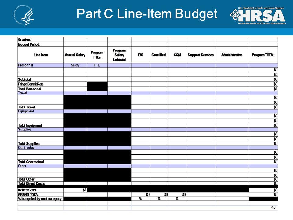 Part C Budget Documents 39 Line Item Budget