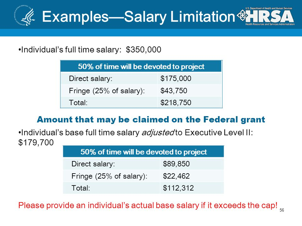 Salary Limitations Requirement (Appropriations Act 2012) Salaries charged to HHS grants are capped at $179,700 annually for FY2012 Individual's base salary, exclusive of fringe benefits and outside income earned Applies to subcontracts ` Grantee subcontracts with nephrologist for half day clinic at $100/hr.