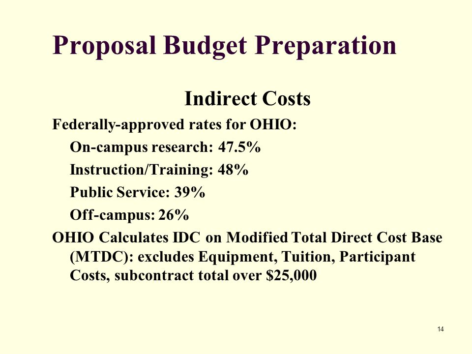 14 Proposal Budget Preparation Indirect Costs Federally-approved rates for OHIO: On-campus research: 47.5% Instruction/Training: 48% Public Service: 39% Off-campus: 26% OHIO Calculates IDC on Modified Total Direct Cost Base (MTDC): excludes Equipment, Tuition, Participant Costs, subcontract total over $25,000