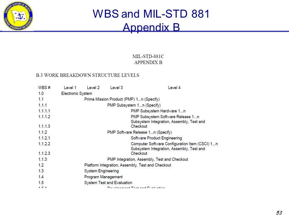 53 WBS and MIL-STD 881 Appendix B