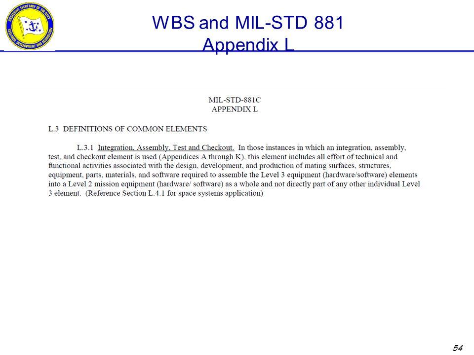 54 WBS and MIL-STD 881 Appendix L