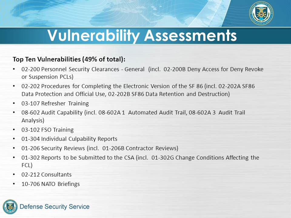Top Ten Vulnerabilities (49% of total): 02-200 Personnel Security Clearances - General (incl.