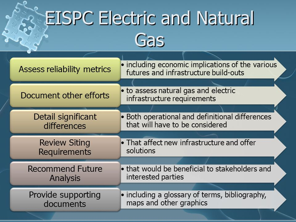 EISPC Electric and Natural Gas including economic implications of the various futures and infrastructure build-outs Assess reliability metrics to assess natural gas and electric infrastructure requirements Document other efforts Both operational and definitional differences that will have to be considered Detail significant differences That affect new infrastructure and offer solutions Review Siting Requirements that would be beneficial to stakeholders and interested parties Recommend Future Analysis including a glossary of terms, bibliography, maps and other graphics Provide supporting documents