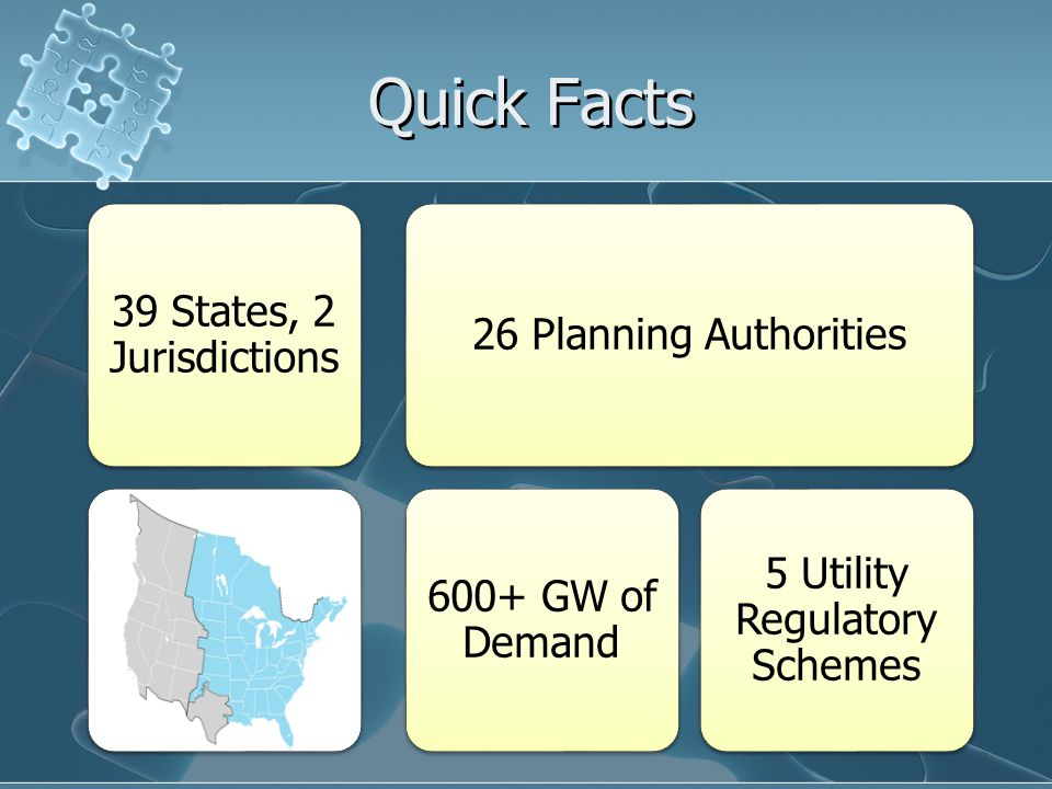 Quick Facts 39 States, 2 Jurisdictions 26 Planning Authorities 600+ GW of Demand 5 Utility Regulatory Schemes