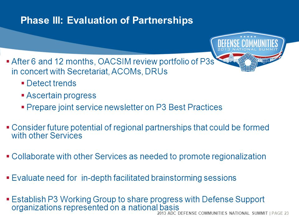 23 2013 ADC DEFENSE COMMUNITIES NATIONAL SUMMIT | PAGE 23  After 6 and 12 months, OACSIM review portfolio of P3s in concert with Secretariat, ACOMs, DRUs  Detect trends  Ascertain progress  Prepare joint service newsletter on P3 Best Practices  Consider future potential of regional partnerships that could be formed with other Services  Collaborate with other Services as needed to promote regionalization  Evaluate need for in-depth facilitated brainstorming sessions  Establish P3 Working Group to share progress with Defense Support organizations represented on a national basis Phase III: Evaluation of Partnerships
