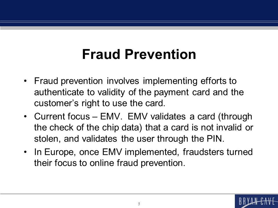 Data Breach Prevention Several focuses: End-to-End (or point to point) Encryption Tokenization Not receiving or storing sensitive data at all 6