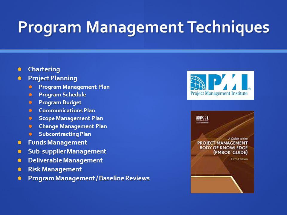 Program Management Techniques Chartering Chartering Project Planning Project Planning Program Management Plan Program Management Plan Program Schedule
