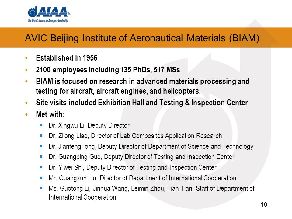 AVIC Beijing Institute of Aeronautical Materials (BIAM) Established in 1956 2100 employees including 135 PhDs, 517 MSs BIAM is focused on research in advanced materials processing and testing for aircraft, aircraft engines, and helicopters.