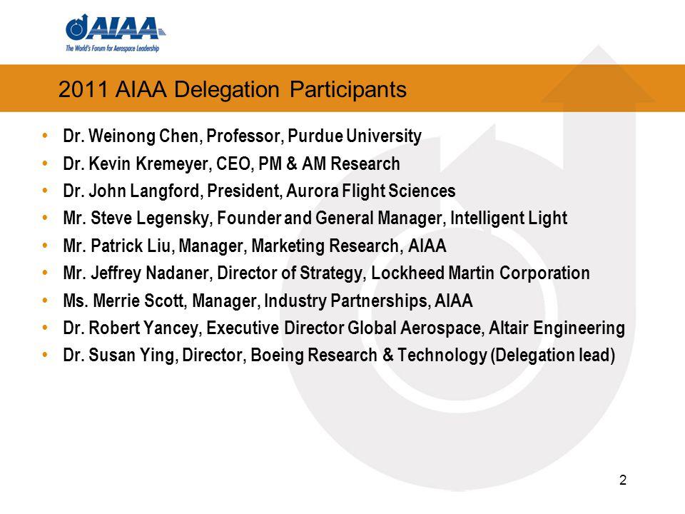 2011 AIAA Delegation Participants Dr. Weinong Chen, Professor, Purdue University Dr.