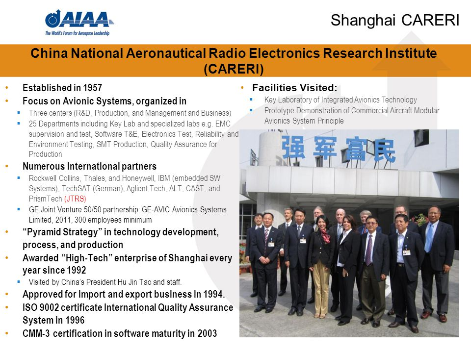 China National Aeronautical Radio Electronics Research Institute (CARERI) Established in 1957 Focus on Avionic Systems, organized in  Three centers (R&D, Production, and Management and Business)  25 Departments including Key Lab and specialized labs e.g.