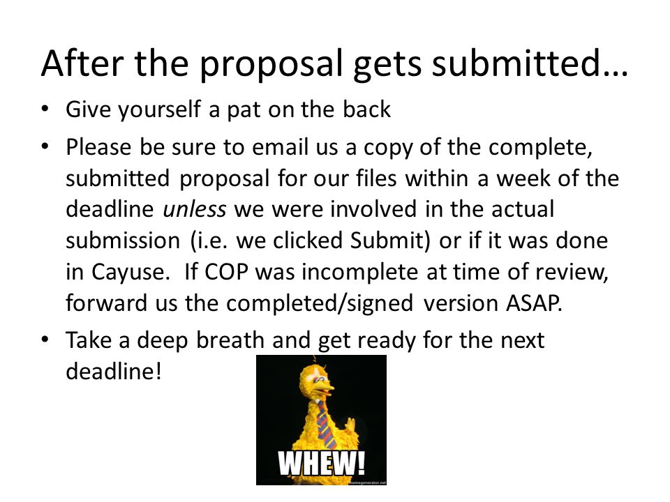 After the proposal gets submitted… Give yourself a pat on the back Please be sure to email us a copy of the complete, submitted proposal for our files
