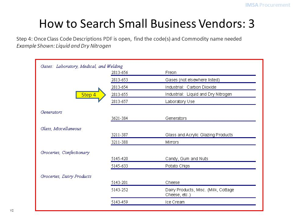 IMSA Procurement V2 How to Search Small Business Vendors: 3 Step 4: Once Class Code Descriptions PDF is open, find the code(s) and Commodity name needed Example Shown: Liquid and Dry Nitrogen Step 4