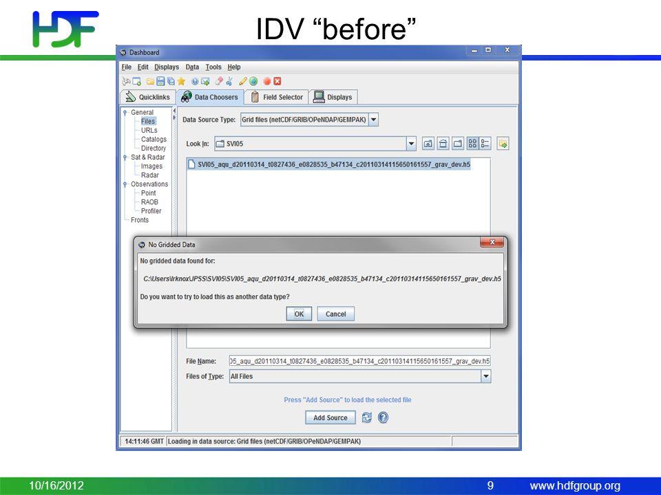 www.hdfgroup.org IDV before 10/16/20129