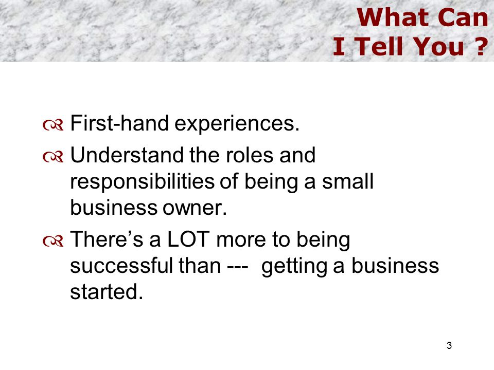 What Can I Tell You ?  First-hand experiences.  Understand the roles and responsibilities of being a small business owner.  There's a LOT more to b