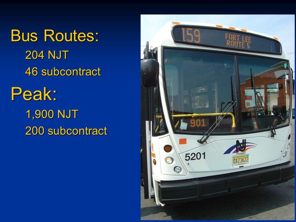 Bus Routes: 204 NJT 46 subcontract Peak: 1,900 NJT 200 subcontract