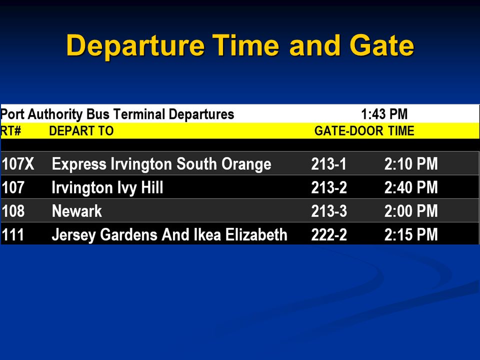Departure Time and Gate