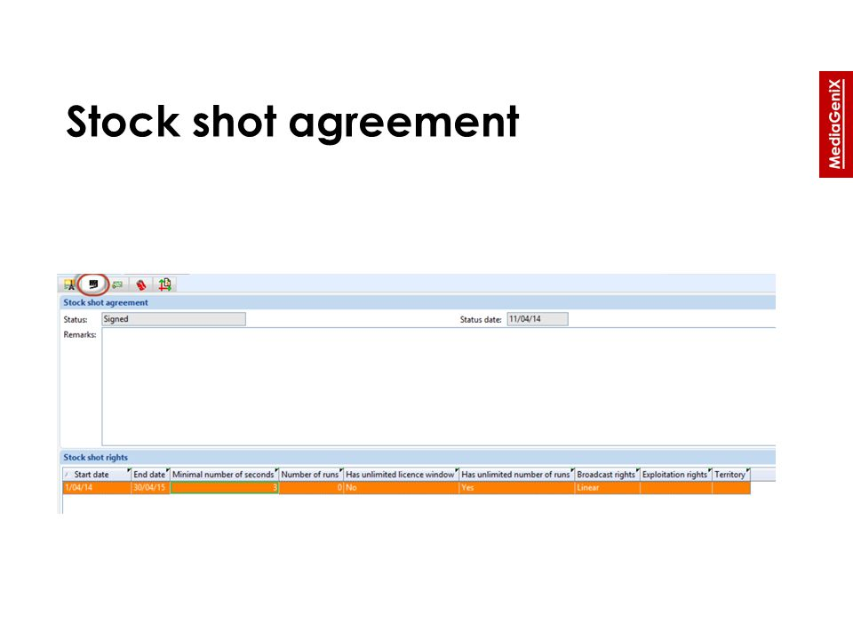 Stock shot agreement
