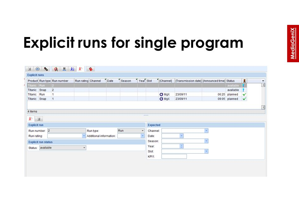 Explicit runs for single program » Overview of explicit run information