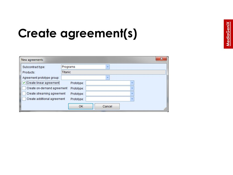 Create agreement(s)