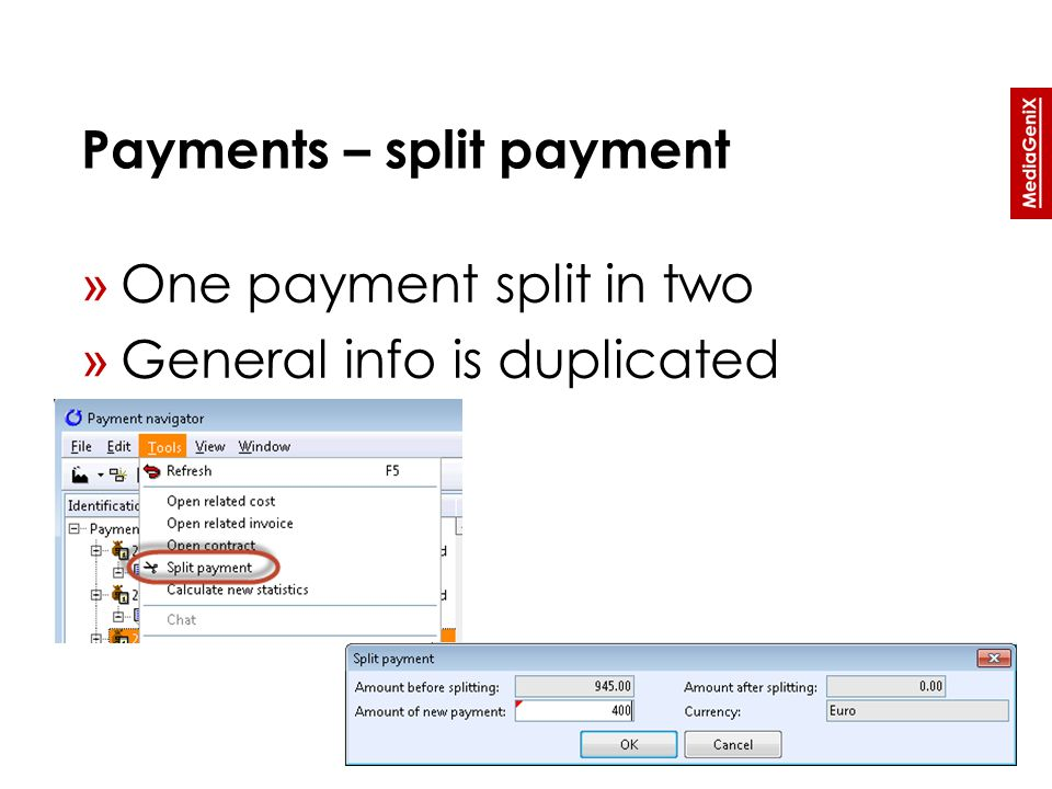 Payments – split payment » One payment split in two » General info is duplicated