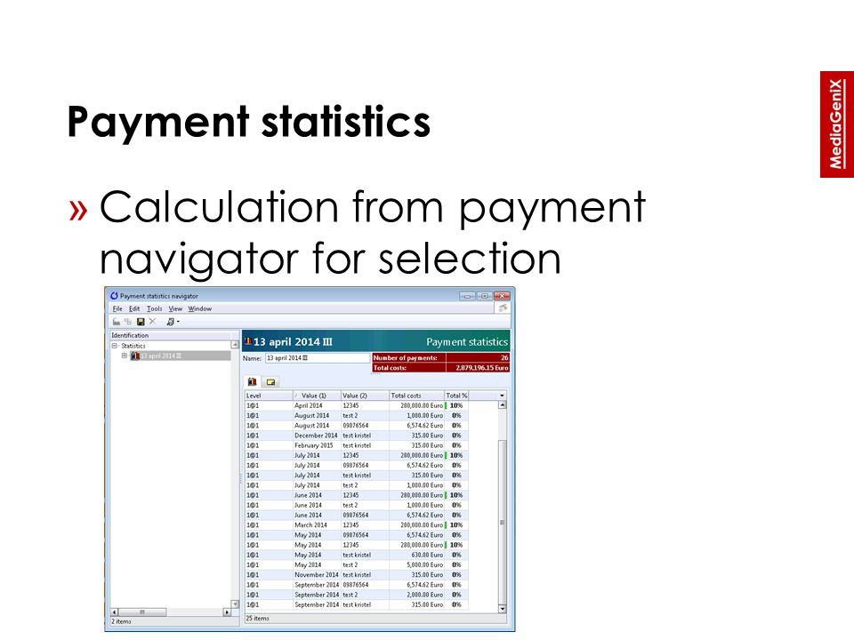 Payment statistics » Calculation from payment navigator for selection