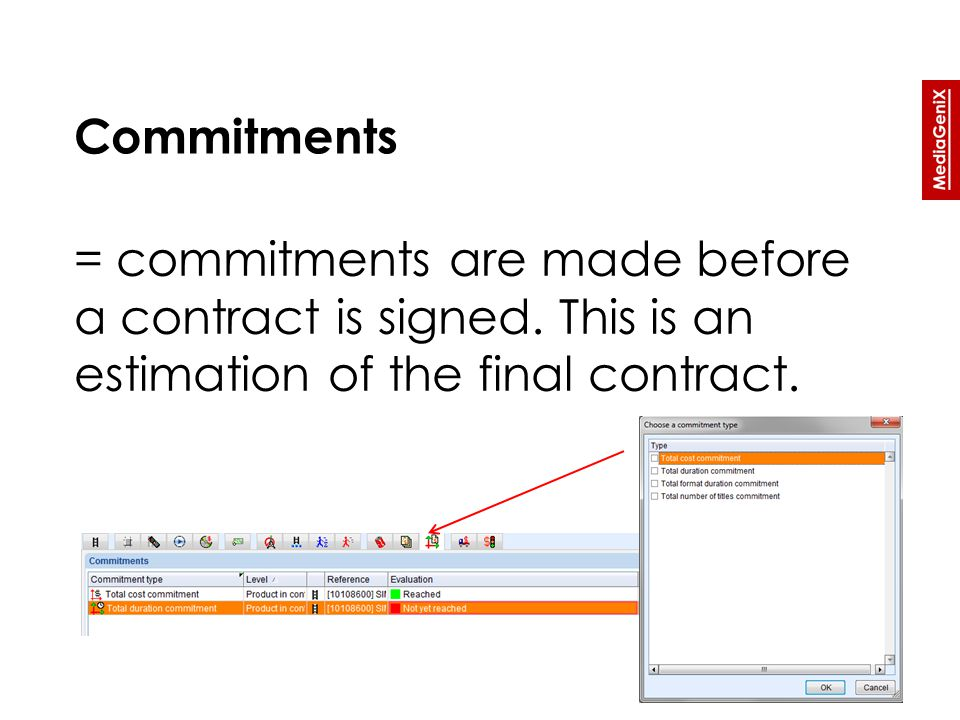 = commitments are made before a contract is signed. This is an estimation of the final contract.