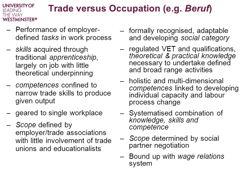 Trade versus Occupation (e.g. Beruf) –Performance of employer- defined tasks in work process –skills acquired through traditional apprenticeship, larg