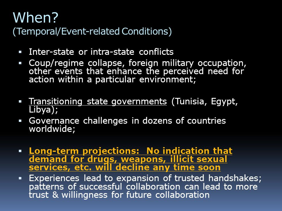 When? (Temporal/Event-related Conditions)  Inter-state or intra-state conflicts  Coup/regime collapse, foreign military occupation, other events tha
