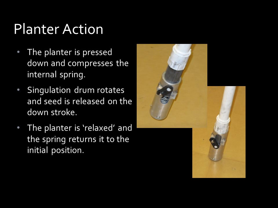 The planter is pressed down and compresses the internal spring.