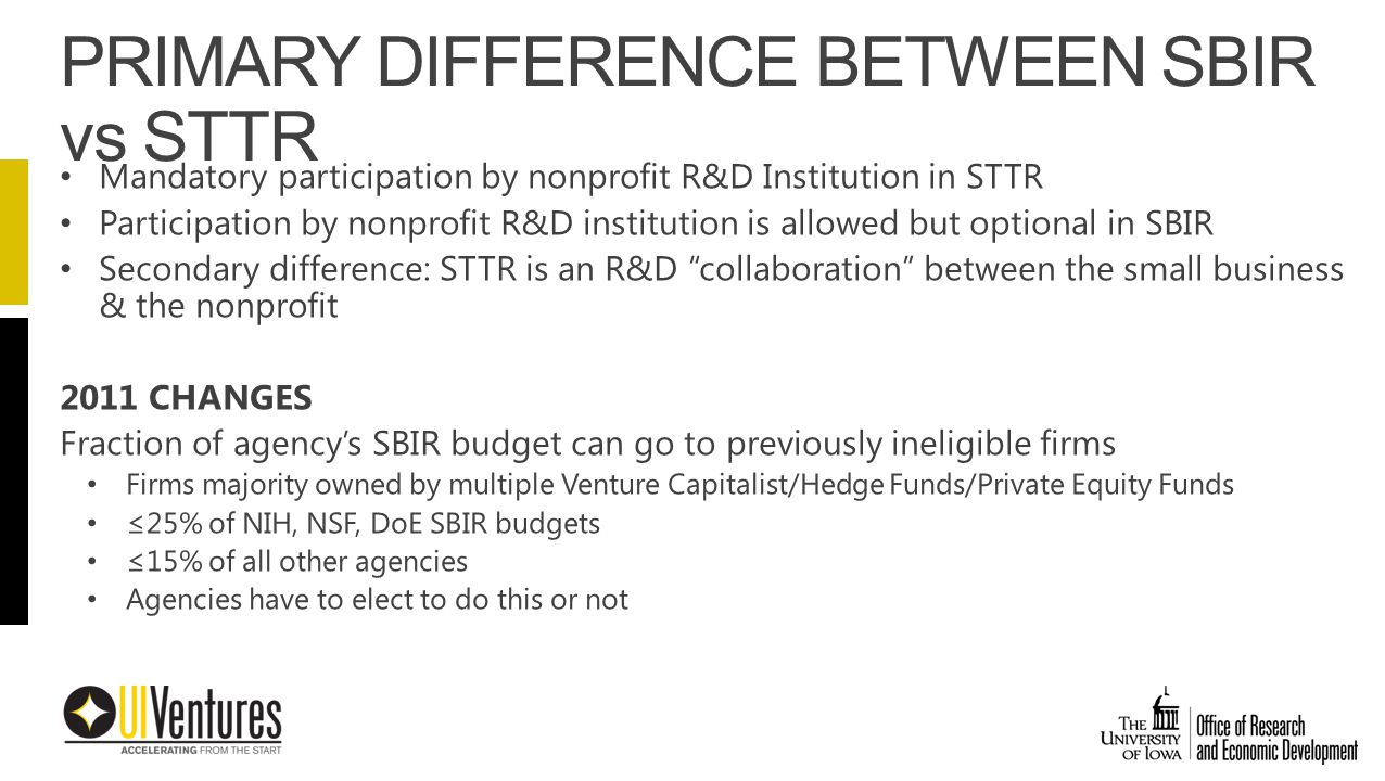 Mandatory participation by nonprofit R&D Institution in STTR Participation by nonprofit R&D institution is allowed but optional in SBIR Secondary difference: STTR is an R&D collaboration between the small business & the nonprofit 2011 CHANGES Fraction of agency's SBIR budget can go to previously ineligible firms Firms majority owned by multiple Venture Capitalist/Hedge Funds/Private Equity Funds ≤25% of NIH, NSF, DoE SBIR budgets ≤15% of all other agencies Agencies have to elect to do this or not PRIMARY DIFFERENCE BETWEEN SBIR vs STTR