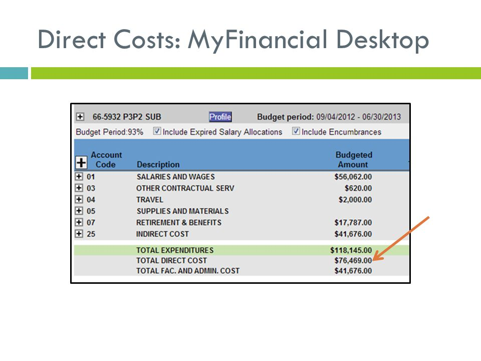 Direct Costs: MyFinancial Desktop