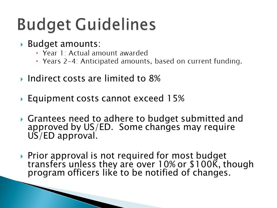  Budget amounts:  Year 1: Actual amount awarded  Years 2-4: Anticipated amounts, based on current funding.
